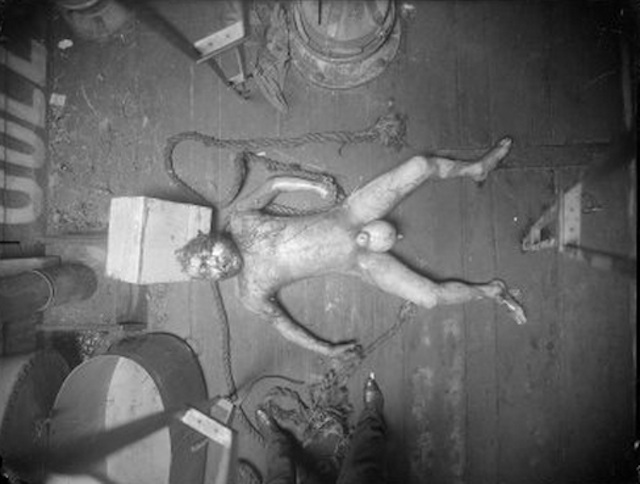 Homicide victim (male) undersize, naked bloated man [ship captain murdered by crew] 1916-1920