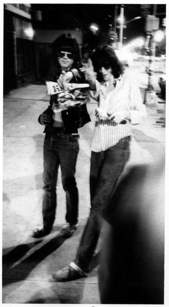 16. Dee Dee and Joey of the Ramones arriving at the club (1977).