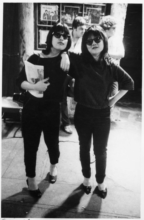 4. Sylvia Morales (who would go on to marry Lou Reed) and downtown scenester Mudd Club co-founder Anya Phillips strike a pose (1977).