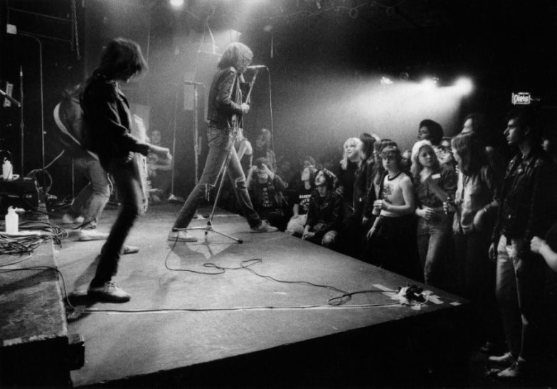 The Ramones, who are arguably one of the artists most closely associated with the CBGB, performing (Godlis,1977)