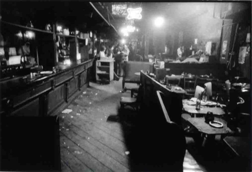 "CBGB Interior at Closing Time. ""Walking out of the club at 4 a.m., it all looked so romantic to me."" (Godlis,1977)"