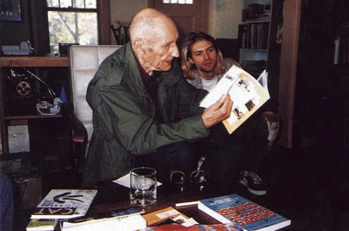 Kurt Cobain and William S. Burroughs at WSB's home in Lawrence, Kansas