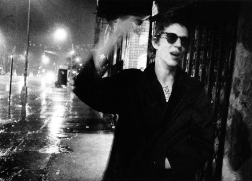 Richard Hell, Bowery, ''Around 3 a.m., I caught Richard exiting CBGB before catching a cab in the Bowery rain'' (Godlis 1977)