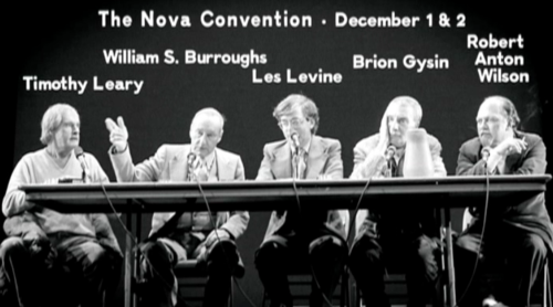 Timothy Leary, William S. Burroughs, Les Levine, Brion Gysin and Robert Anton Wilson at the Nova Convention. Photo by Marcia Resnick. 1978.