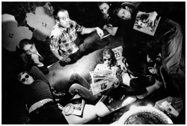 Andy and some of the Factory regulars, photo by Dennis Hopper, 1963.