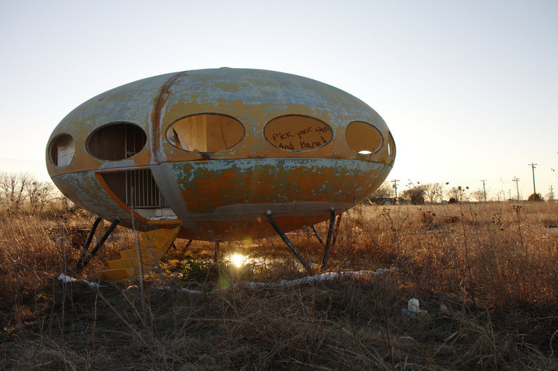 Abandoned Futuro House in Royse City, Texas 9photograph by Steve Rainwater)