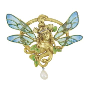 Lot-410-Art-Nouveau-Gold-Plique-a-Jour-Enamel-Diamond-and-Pearl-Pendant-France1