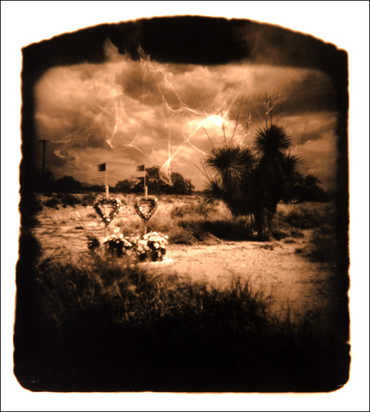"Two Hearts 11""x14"" gelatin silver print (from Roadside Altar series)"