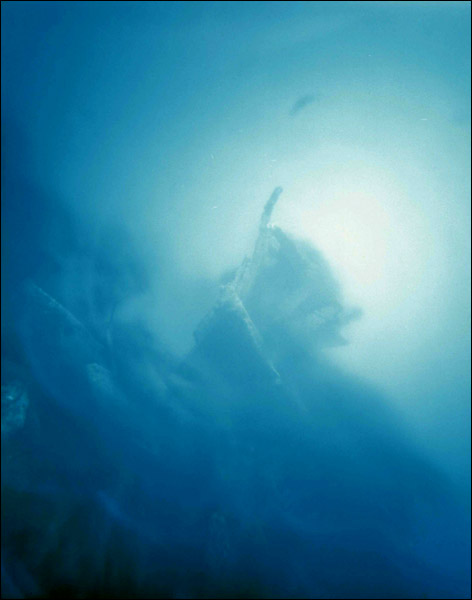 """The Valiant"" - First photo from Yemaya, off the coast of Catalina Island, depicting a sunken ship at 105 ft. deep. The exposure was 1 and a half hours long. 20""x24"" C-print."