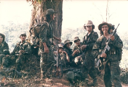 Members of ARDE Frente Sur taking a smoke break after routing the FSLN garrison at El Serrano in southeast Nicaragua in 1987.