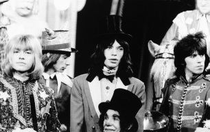UNITED KINGDOM - DECEMBER 11: Photo of ROLLING STONES; on the set of 'Rock 'n' Roll Circus' L-R Brian Jones, Mick Jagger, Keith Richards (Photo by Andrew Maclear/Redferns)