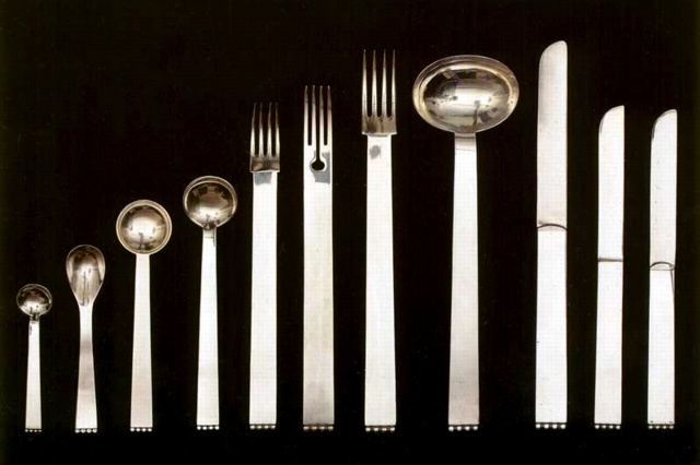 osef Hoffmann (Austrian, 1870-1956) for Wiener Werkstätte, part of the Flat Model cutlery set, silver, c.1903-1904
