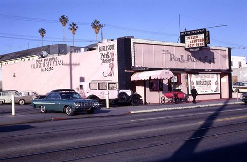 Harry and Alice Schiller owned the Pink Pussy Cat on Santa Monica Blvd. Dancers with clever stage names such as Fran Sinatra, Samya Davis Jr., Deena Martin, Peeler Lawford, Joanie Carson, Joey Pine,Edie McMahon, Joie Bishop, and Reegie Philbin put on glittering shows for a packed crowd—which often included members of the Rat Pack!