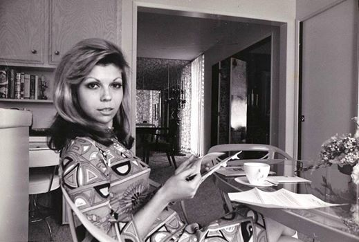 Nancy Sinatra lounging around in a Pucci dress at her Beverly Hills home in Trousdale, Ron Joy 1967.