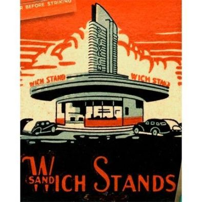 Los Angeles Wich Stand Drive In Vintage Matchbook Print. 1950-60's