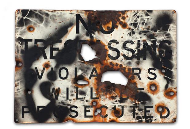 1097-3871-william_s._burroughs__untitled__ca.1988._spray_paint_and_gunshots_on_metal_sign__36_x_50.5_cm._courtesy_estate_of_willia