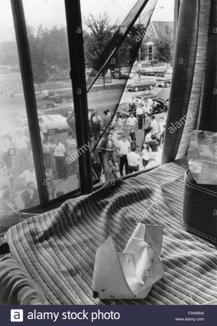 Bloodstained nurses cap on a bed where eight student nurses were slain by Richard Speck. Chicago, July 14, 1966