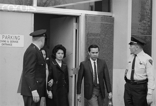 The Lone Survivor. Peoria, Illinois: Corazon Amurao leaves the court here with her mother (partially hidden, second from left) after her cross examination in the trial of Richard Speck in April, 1967. Miss Amurao, 24, is the sole survivor in the brutal Chicago massacre of eight student nurses.