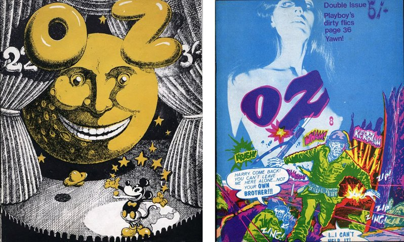 Two colourful covers from the Oz back catalogue, now available online. Composite: University of Wollongong Archives