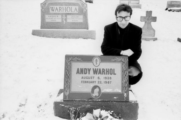 Victor on Warhol's Grave, Pittsburgh 1988 Picture by George Warhola