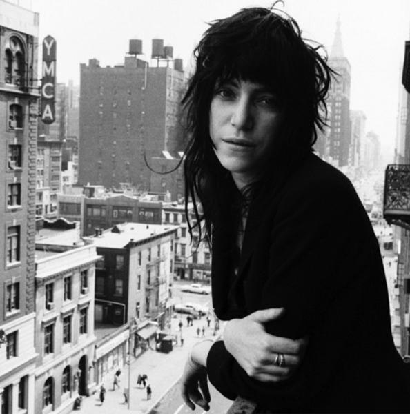 Patti Smith on the balcony of the Chelsea Hotel , 1971