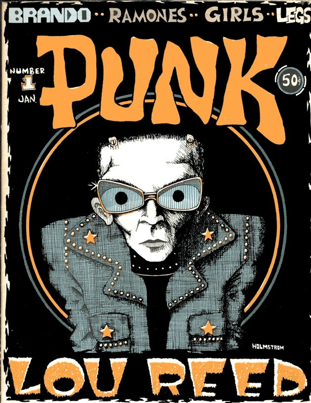 Punk Magazine 1976 First Issue with Lou Reed very ''insect'' look drawn by John Holmstrom. Consacrating Lou Reed as the ultimate Punk Rock Godfather.
